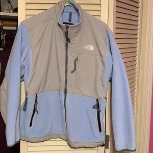 North face baby blue fleece jacket